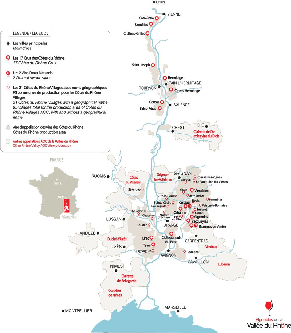 Carte des vignobles de la Vallée du Rhône - crédit INTERHONE