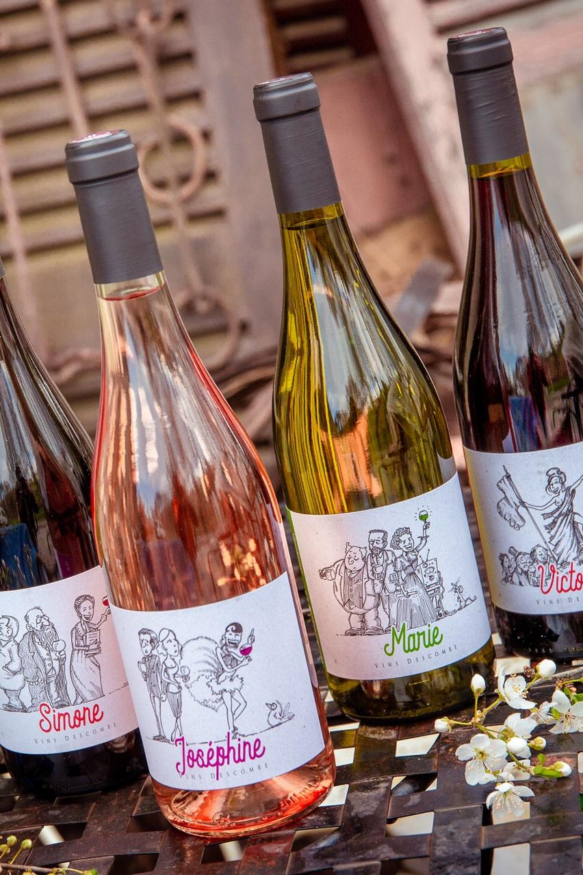 Vins de France rouges, blancs, rosés, Marie, Jean, Simone, Victoire.
